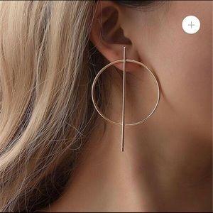 Jewelry - Gold Bar Hoop Earrings